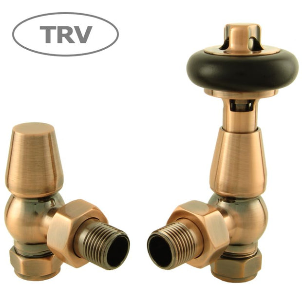 Faringdon Traditional Thermostatic Radiator Valve - Antique Copper (Angled TRV)