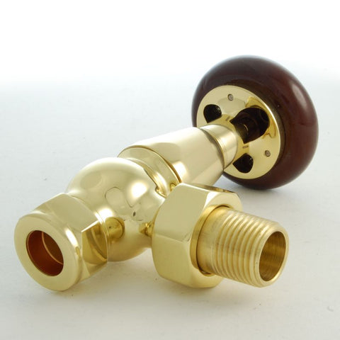 Faringdon Traditional Thermostatic Radiator Valve - Brass (Angled TRV)