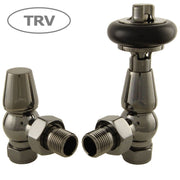Faringdon Traditional Thermostatic Radiator Valve - Black Nickel (Angled TRV)