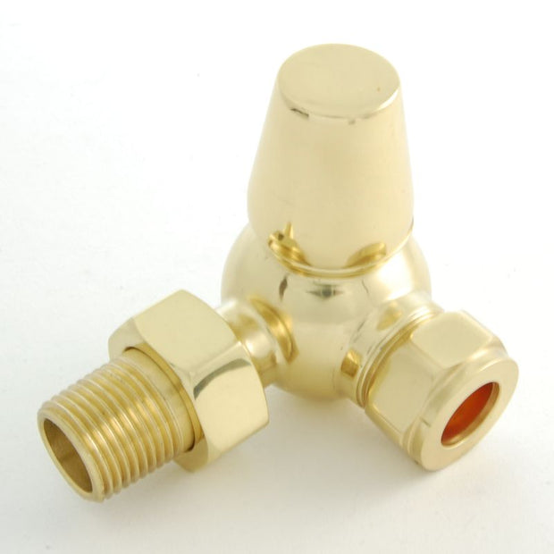 Faringdon Traditional Thermostatic Radiator Valve - Brass (Corner TRV)
