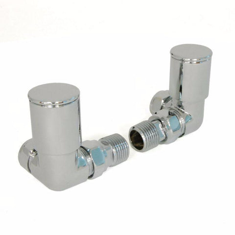 Corner Radiator Valves - Chrome - Pair