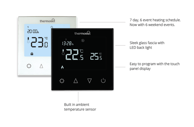 Thermotouch Glass 7.6iG Programmable Underfloor Heating Thermostat