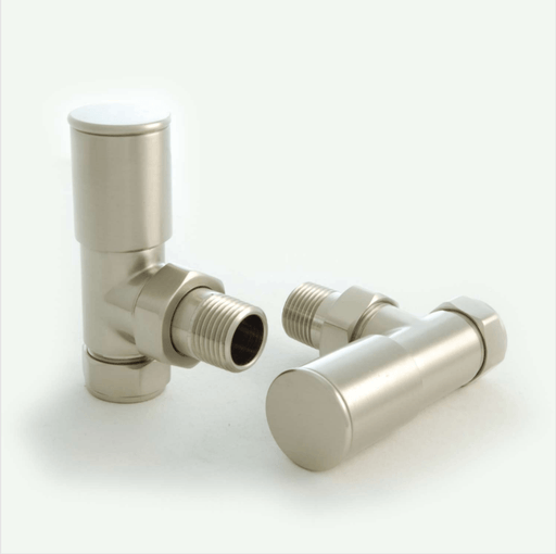 Milan Angled Satin Nickel Radiator Valves (Pair)
