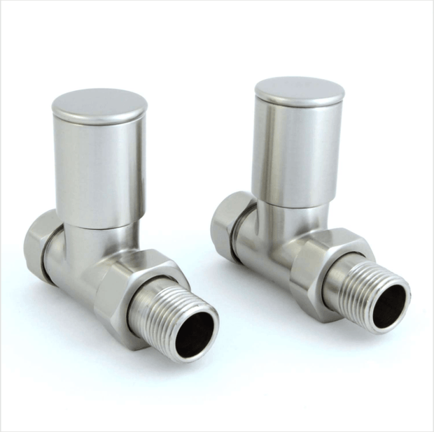 Milan Straight Satin Nickel Radiator Valves (Pair)
