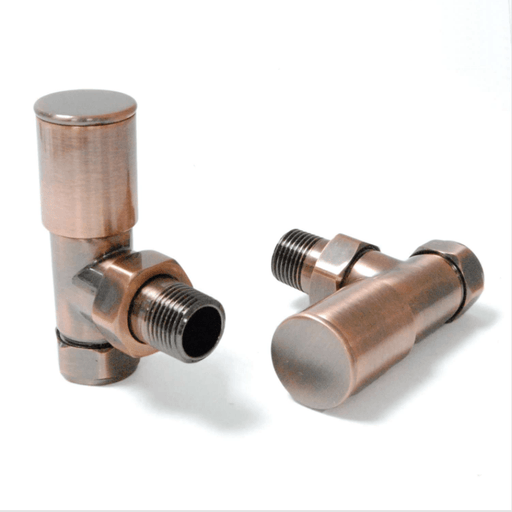 Milan Angled Antique Copper Radiator Valves (Pair)