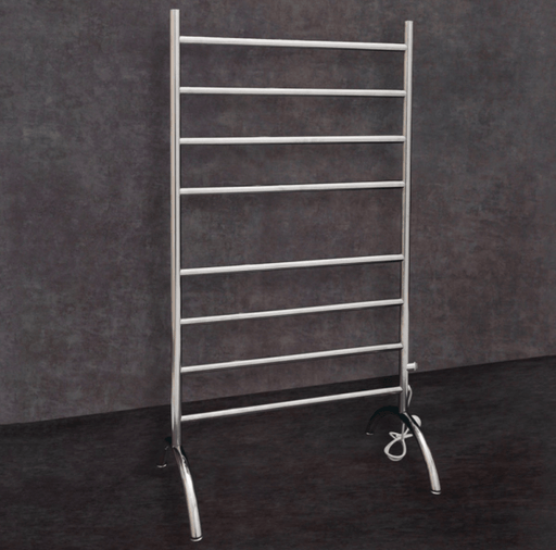 Thermorail Ladder - Floor Standing Round Profile Dry Electric Heated Towel Rail - FS66E