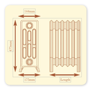 The Tudor 4 - 660mm High - 4 Column - Cast Iron Radiator
