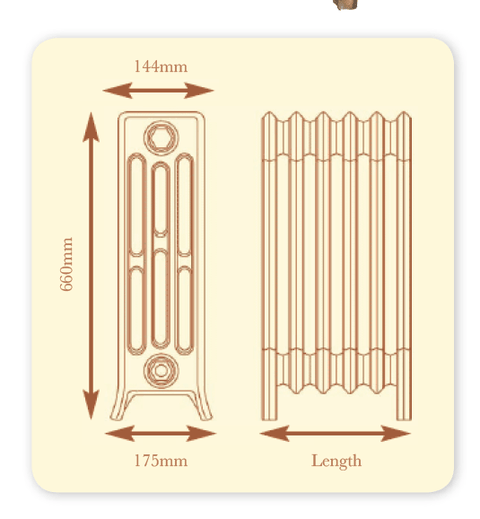 The Tudor 4 - 360mm High - 4 Column - Cast Iron Radiator