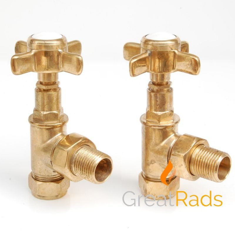 Accessories - Westminster Cross-head Rad Valves Angled Un-Lacquered Brass