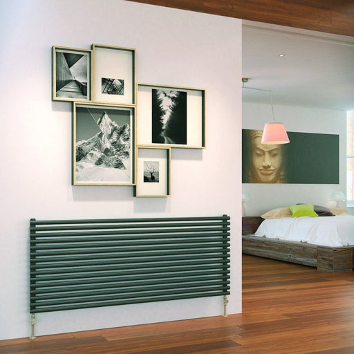 Bon Designer Radiator   DQ Vulcano Horizontal Designer Radiator   Dark Grey    Single Panel