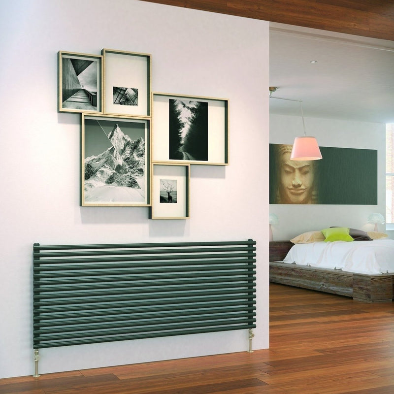 Designer Radiator - DQ Vulcano Horizontal Designer Radiator - Dark Grey - Single Panel