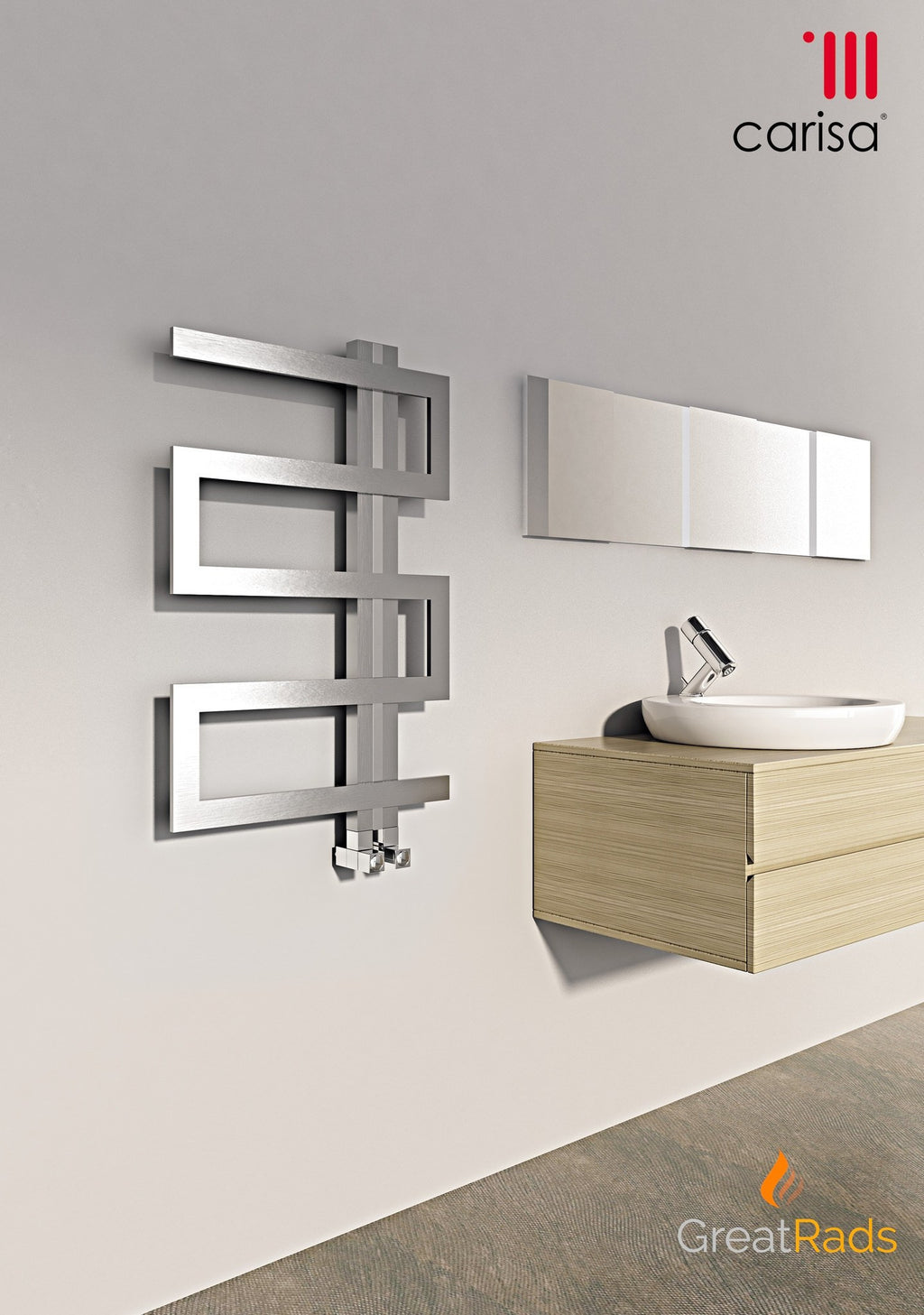 Towel Radiator - Carisa Ibiza Stainless Steel Towel Radiator