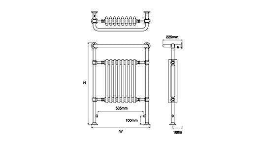 DQ Croxton Essential Traditional Towel Radiators - Towel Radiator - Great Rads Ltd. - 3