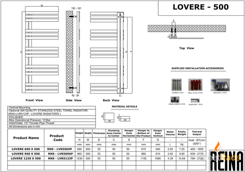 Towel Radiator - Reina Lovere Stainless Steel Towel Radiator