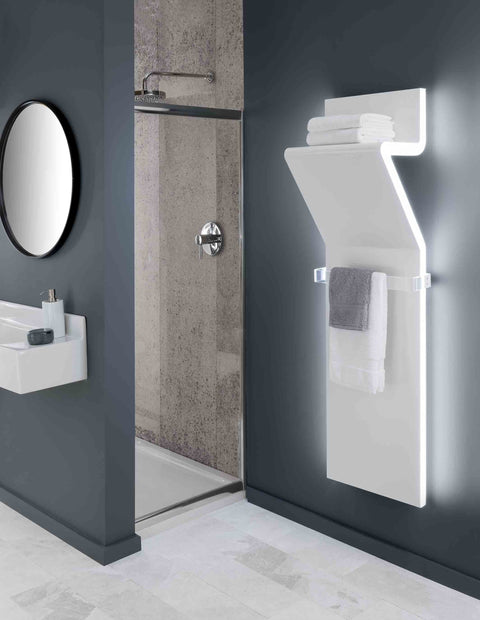 TRC Tratto Towel Radiator 1600 x 450 with LED in White RAL 9016