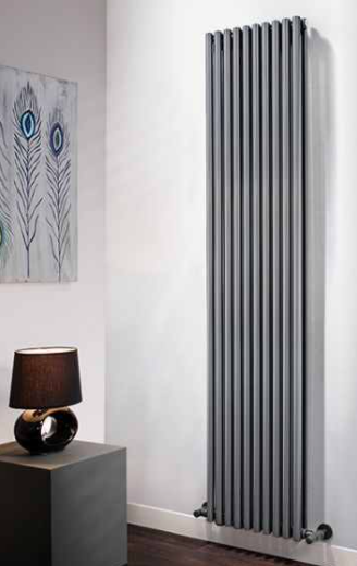 DQ Vulcano Vertical Designer Radiator - Dark Grey - Double Panel