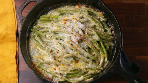 Cheesy Baked Green Beans by Lena Abraham