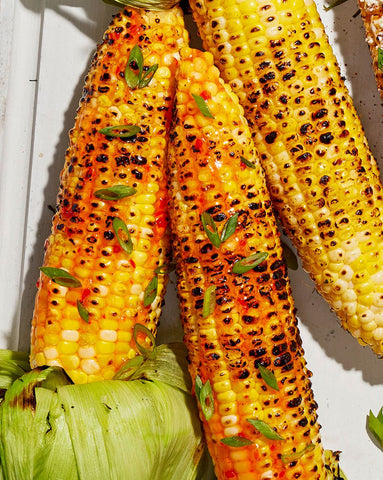 Grilled Corn with Red Pepper Jelly Glaze by Kate Merker