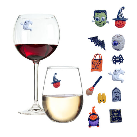 Halloween Wine Glass Charms Spooky Set of 12 by Simply Charmed