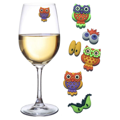 Owl Magnetic Wine Charms with Fun owls and Funny eyes at your Halloween party