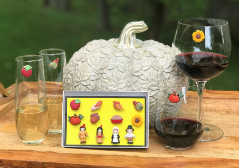 Thanksgiving Magnetic Wine Glass Charms