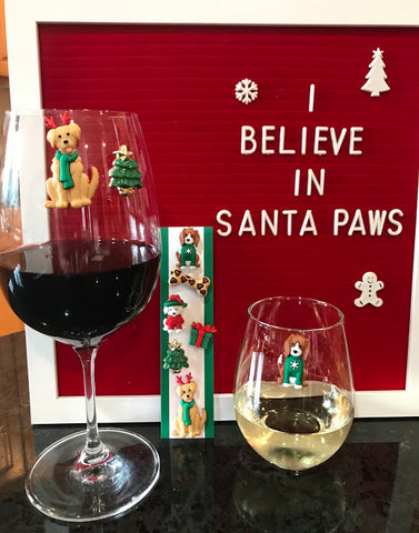 Christmas Dogs Magnetic Wine Charms