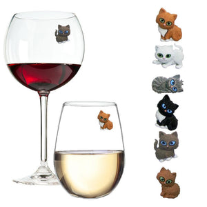 cat wine glass charms markers