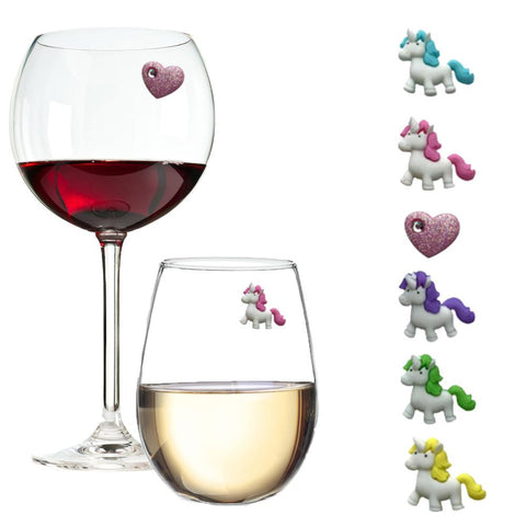 unicorn wine glasses charms