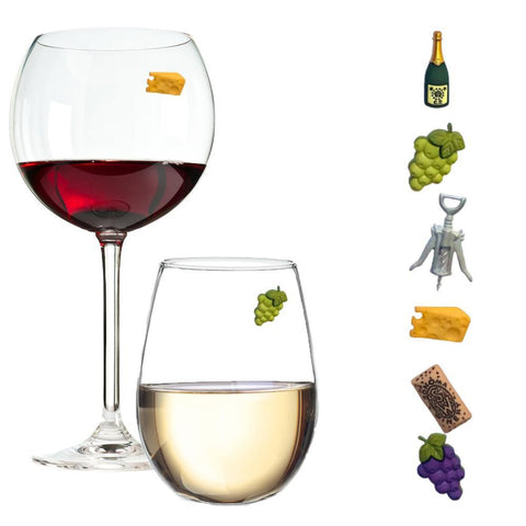 wine theme glass charms markers
