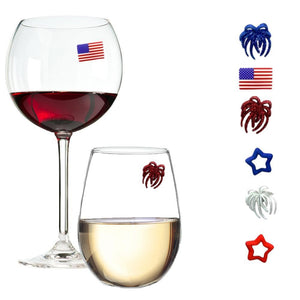 4th of july party wine charms