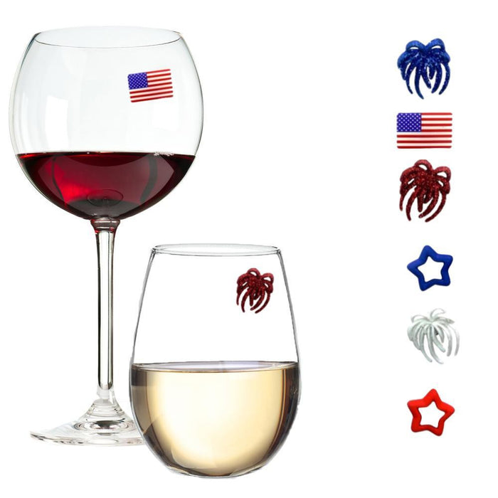 Patriotic Red White & Blue Magnetic Glass Charms