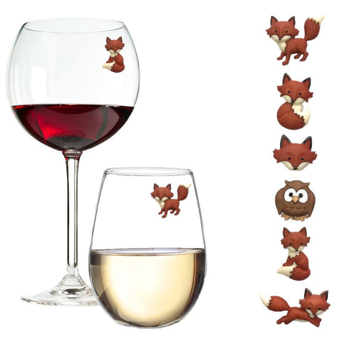 fox wine charms glass markers gift