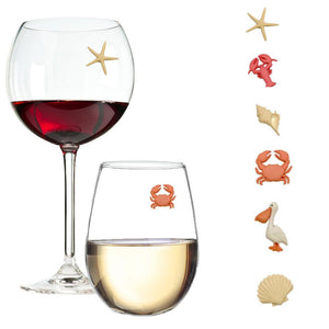 sea shore beach shells wine charms