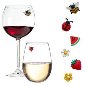summer bee strawberry flower wine charms