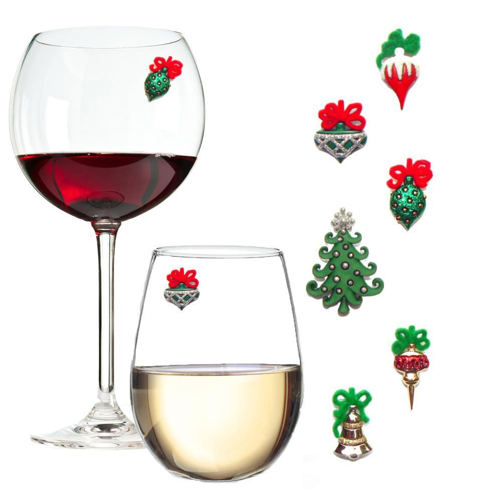 christmas magnetic wine glass charms
