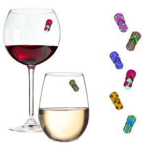 flip flop beach wine charms