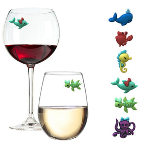 beach ocean wine glass charms