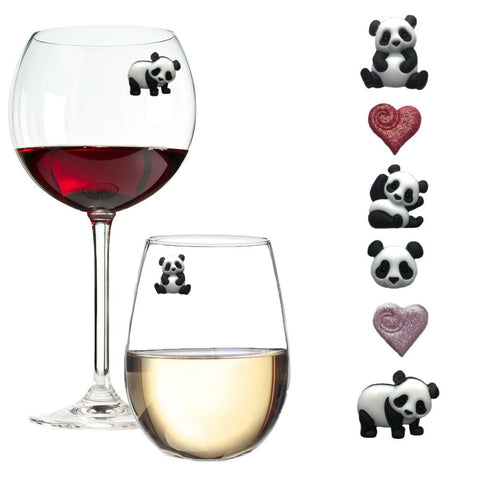 panda lovers wine glass charms