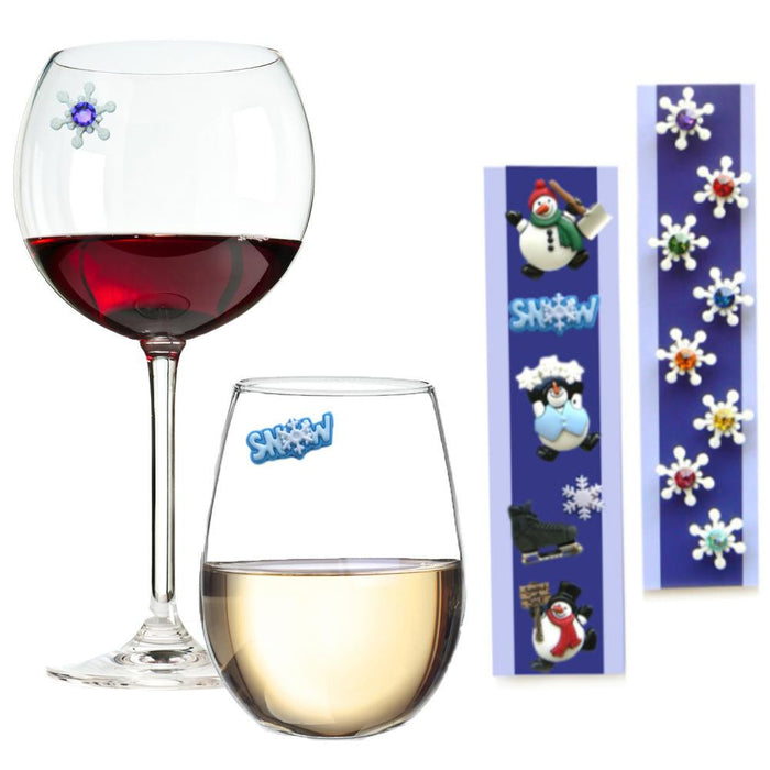 Snowmen and Snowflake Wine Charm Bundle