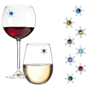 snowflake wine glass charms crystals