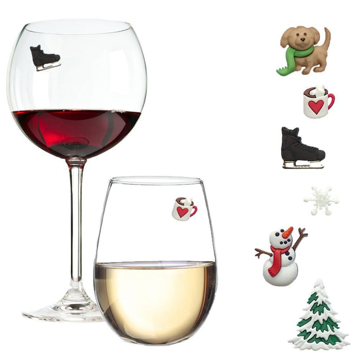Snowy Outdoors Winter Magnetic Wine Charms