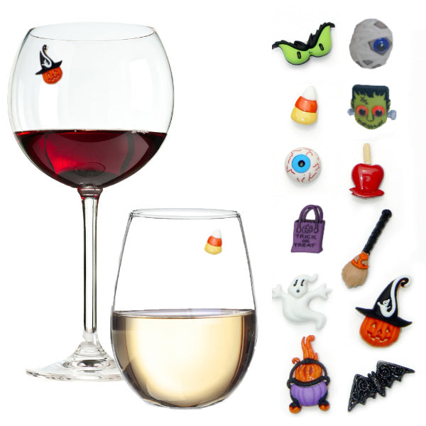Halloween Wine Glass Charms Spooky Set of 12