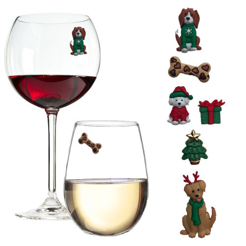 Christmas Dogs ~ Fun Wine Charm Gift for Dog Lovers