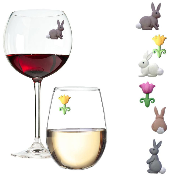 Bunnies and Tulips - Perfect for Spring Magnetic Glass Charms