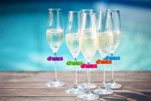 Cheers Silicone Wine Glass Charms Set of 8