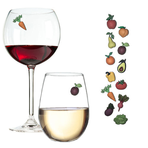 Fruit and Veggie Wine Charms Set of 12