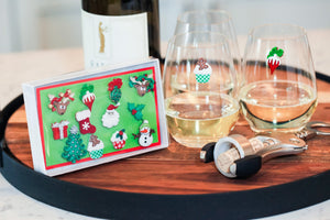 Christmas wine charms stemless magnetic