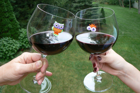 Owl Halloween magnetic wine charms