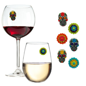 sugar skulls wine charms