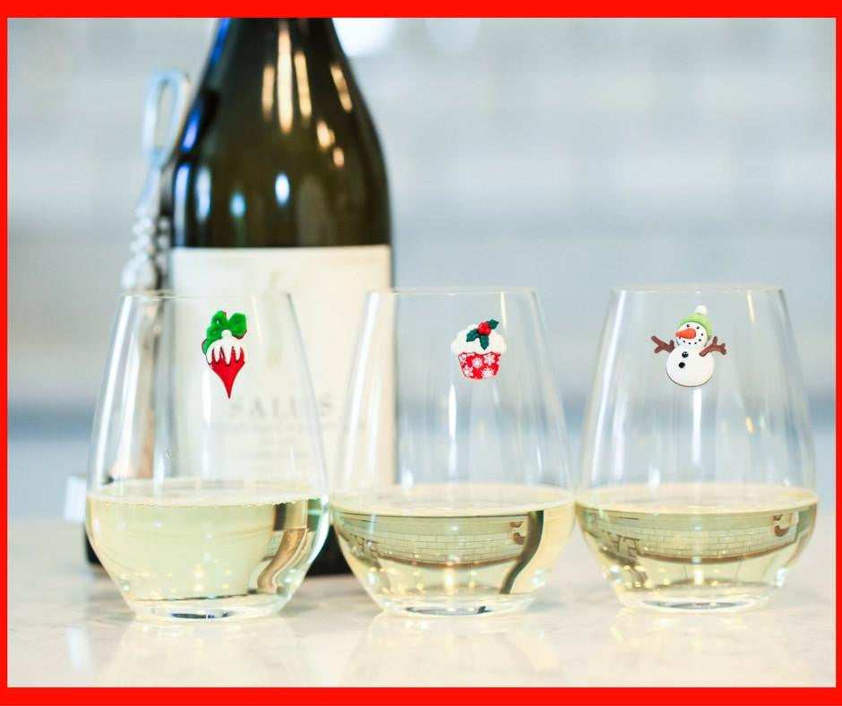 Christmas wine glass charms stemless